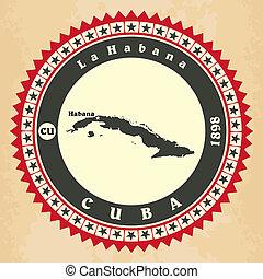 Vintage label-sticker cards of Cuba.