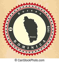 Vintage label-sticker cards of Dominica.