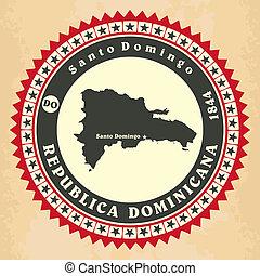 Vintage label-sticker cards of Dominican Republic. Vector...