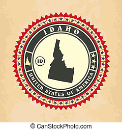 Vintage label-sticker cards of Idaho
