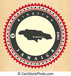 Vintage label-sticker cards of Jamaica. Vector illustration