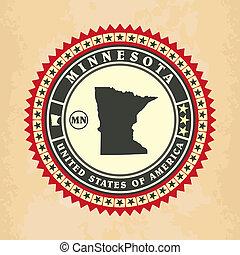 Vintage label-sticker cards of Minnesota, vector illustration