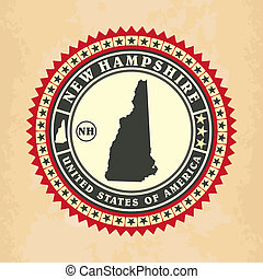 Vintage label-sticker cards of New Hampshire