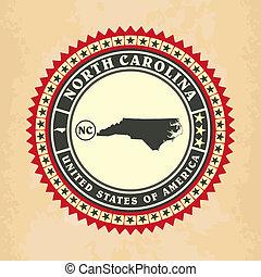 Vintage label-sticker cards of North Carolina
