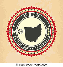 Vintage label-sticker cards of Ohio