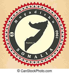 Vintage label-sticker cards of Somalia. Vector illustration