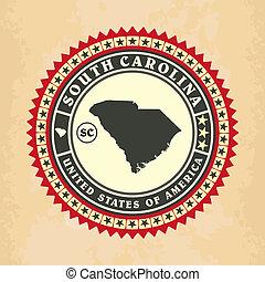 Vintage label-sticker cards of South Carolina