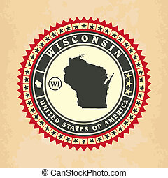 Vintage label-sticker cards of Wisconsin