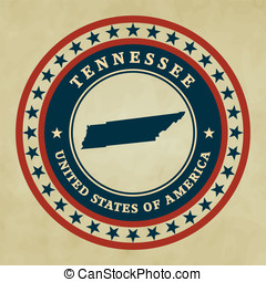Vintage label Tennessee - Vintage label with map of...
