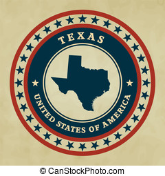 Vintage label Texas - Vintage label with map of Texas,...
