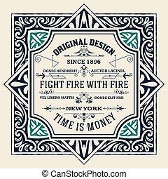 Vintage label western hand drawn antique frame typography vector illustration