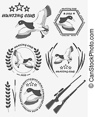 Vintage label with a duck, weapons for lucky hunting club. Vector