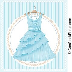 vintage  label with blue dress