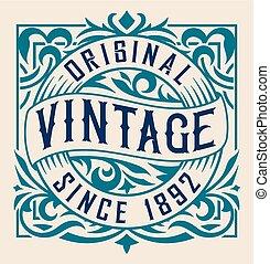 Vintage label with floral details