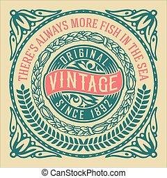 Vintage label with floral elements