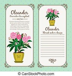 Vintage label with flower oleander - Vintage label template...