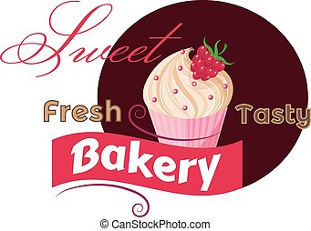 Vintage label with Fresh strawberry Cupcake