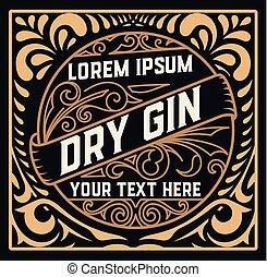 Vintage label with gin liquor design