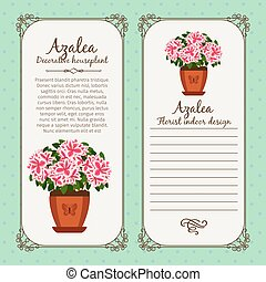 Vintage label with potted flower azalea - Vintage label ...