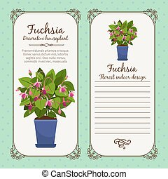 Vintage label with potted flower fuchsia