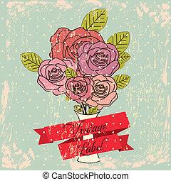 Vintage label with rose over blue background vector...