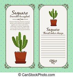 Vintage label with saguaro plant - Vintage label template...