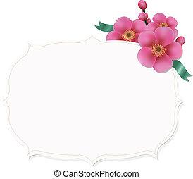 Vintage Label With Sakura Flower