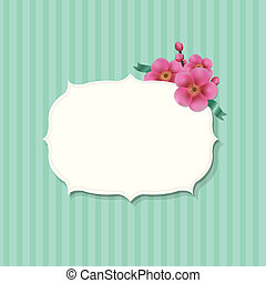 Vintage Label With Sakura Flowers, With Gradient Mesh,...