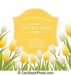 Vintage label with spring flowers