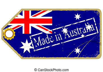 Vintage label with the flag of   Australia