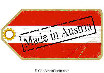 Vintage label with the flag of Austria
