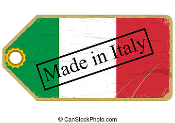 Vintage label with the flag of Italy