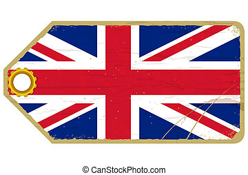 Vintage label with the flag of  United Kingdom