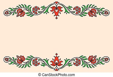 Vintage label with red and green traditional Hungarian floral motives