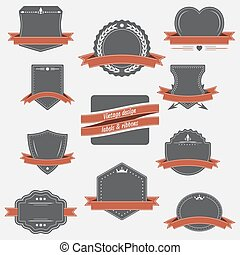 Vintage labels and ribbons. Retro style vector set design.