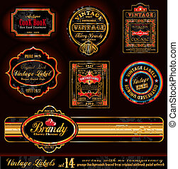 Vintage Labels - Black and Gold Elements with distressed Antique look - Set 17