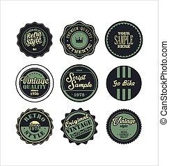 Vintage labels blue set 2.eps