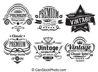 Vintage Labels - Six scalable old school retro vintage...