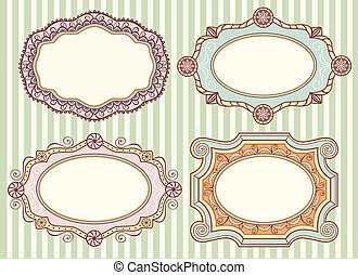 Vintage labels collection - Collection of four cute vintage...