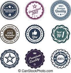 Retro Label set. Logo vintage. Trendy design. High quality.