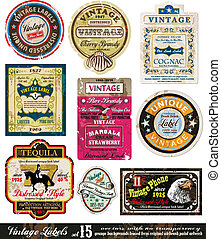 Vintage Labels Collection -Set 15 - Vintage Labels...