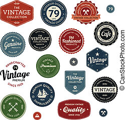 Vintage labels - Set of retro vintage badges and labels with...