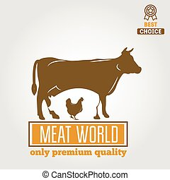 Vintage labels, logo, emblem templates of butchery meat shop...