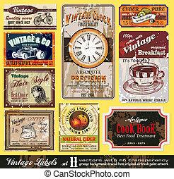 Vintage Labels - Set 11 - Vintage Labels Collection - nine...