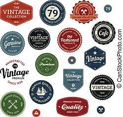 Vintage labels - Set of retro vintage badges and labels with...