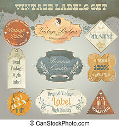 Vintage labels set.  Old dirty and rumpled paper textures