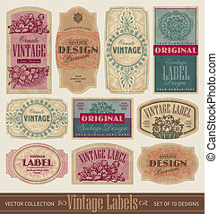 vintage labels set (vector) - set of 10 vintage style...