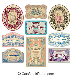 vintage labels set (vector) - set of ornate vintage labels,...