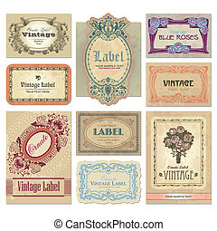 vintage labels set (vector) - set of ornate vintage labels, ...
