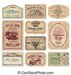 vintage labels set (vector) - set of vintage labels,...